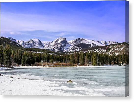 Canvas Print featuring the photograph Rocky Mountain Lake by Dawn Richards