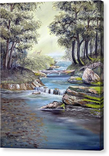 Canvas Print featuring the painting Rocky Stream by Deleas Kilgore