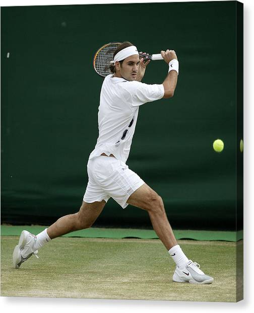 Roger Federer Of Switzerland In Action Canvas Print