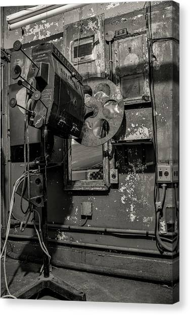 Canvas Print featuring the photograph Roll The Film - Bw by Kristia Adams