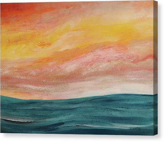 Canvas Print featuring the painting Rolling Ocean by Valerie Anne Kelly