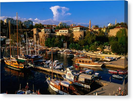Roman Harbour In Kaleici Old Town Canvas Print