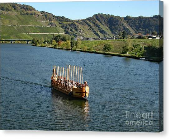 Canvas Print featuring the photograph Roman Warship On The Mosel by PJ Boylan