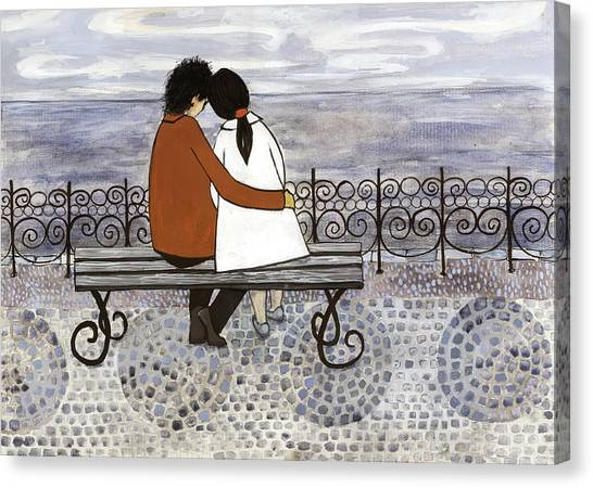 Romance On The Sea Side Canvas Print by Georgiana Chitac