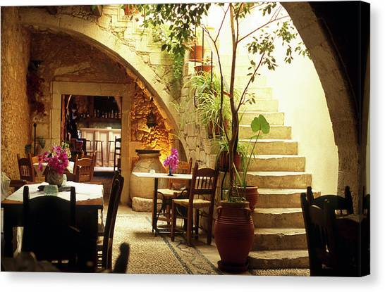 Romantic Restaurant Interior In Greece Canvas Print