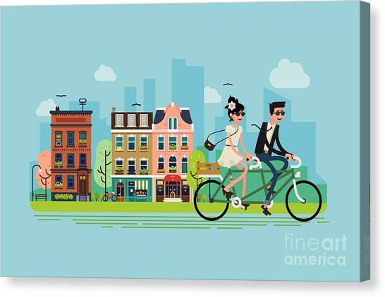 Romantic Vector Concept Illustration On Canvas Print by Mascha Tace