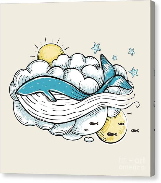 Sun Canvas Print - Romantic Whale Swimming In Clouds Retro by Popmarleo