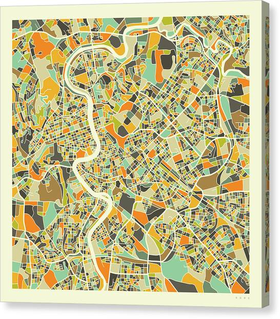 Italy Canvas Print - Rome Map 1 by Jazzberry Blue