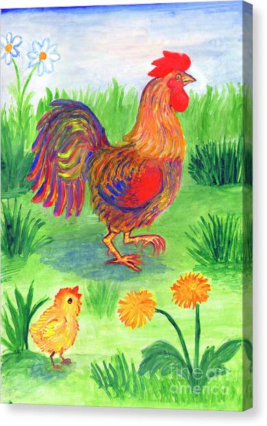 Rooster And Little Chicken Canvas Print