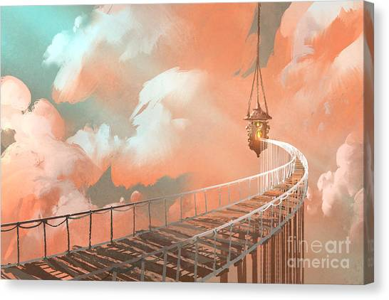 Rope Canvas Print - Rope Bridge Leading To The Hanging by Tithi Luadthong