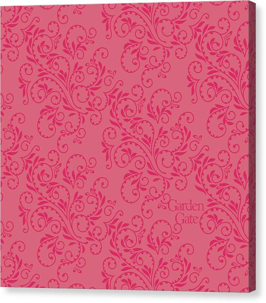 Rose Colored Fern Pattern Canvas Print
