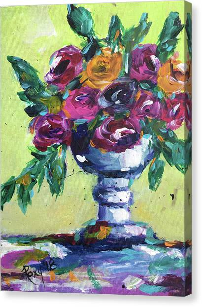 Farmhouse Canvas Print - Roses In A Goblet by Roxy Rich