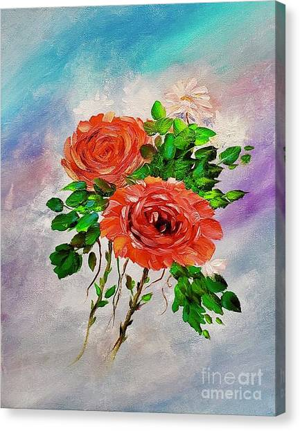 Canvas Print featuring the painting Roses by Mary Scott