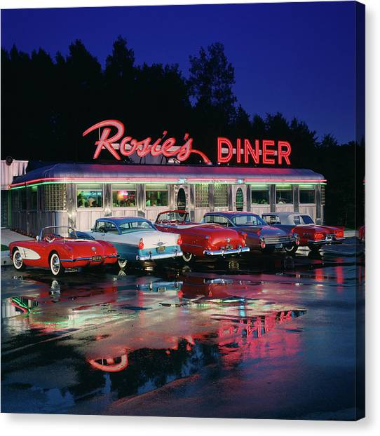 Rosies Diner Canvas Print by Car Culture