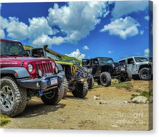 Row Of Jeeps Canvas Print