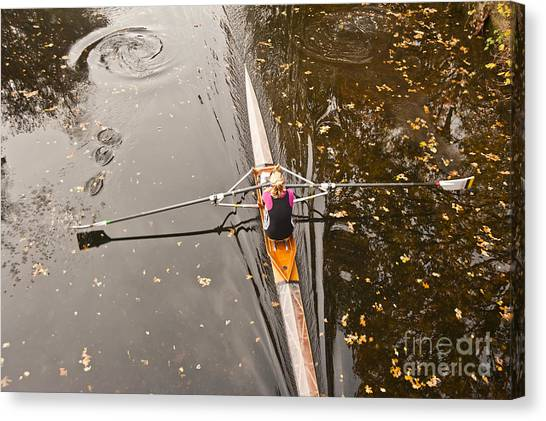 Rowing In Autumn Canvas Print by Raevas
