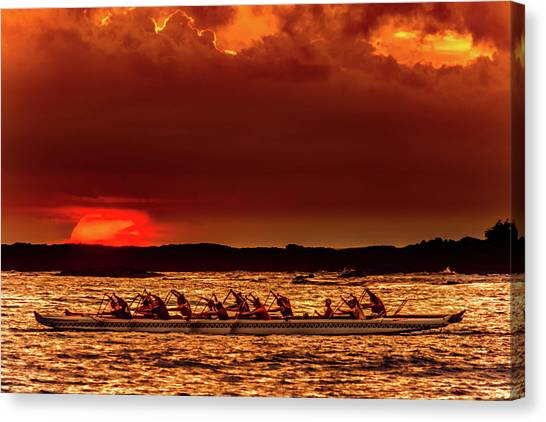Rowing In The Sunset Canvas Print