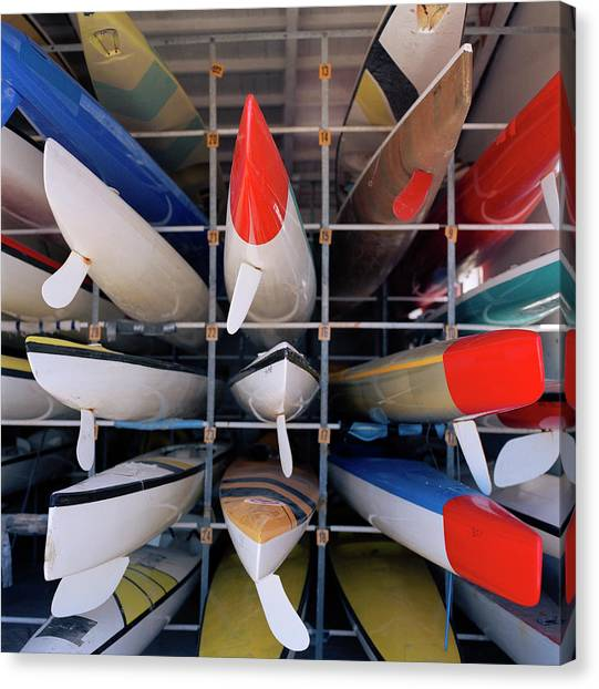 Rows Of Canoes In Boat House, Close-up Canvas Print