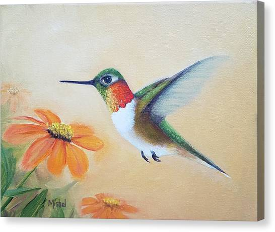 Rufous In Marigolds  Canvas Print