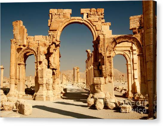 Ruins Of Ancient City Of Palmyra In Canvas Print by Zdenek Chaloupka