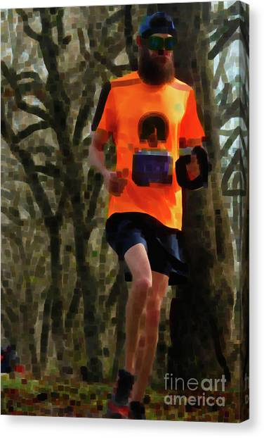 Running On Orange  Canvas Print by Steven Digman