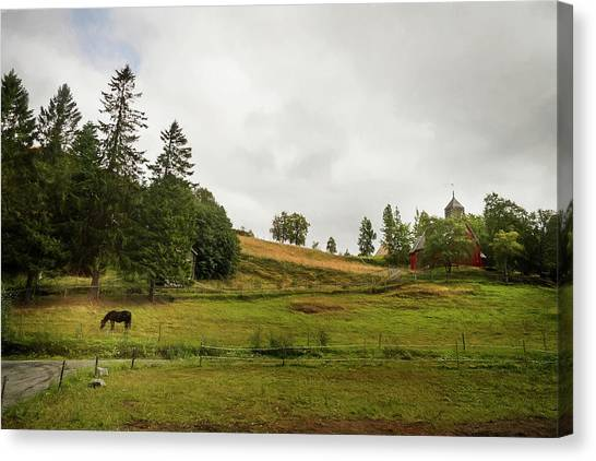 Canvas Print featuring the photograph Rural Landscape In Trondheim Norway by Whitney Leigh Carlson