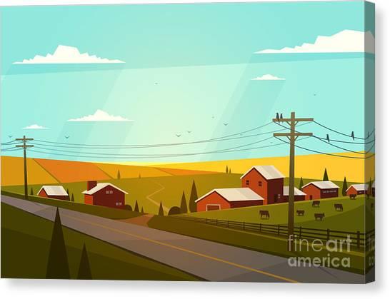 Rural Landscape. Vector Illustration Canvas Print by Doremi