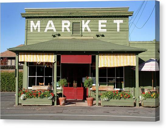 Rural Store Market Building In Country Canvas Print