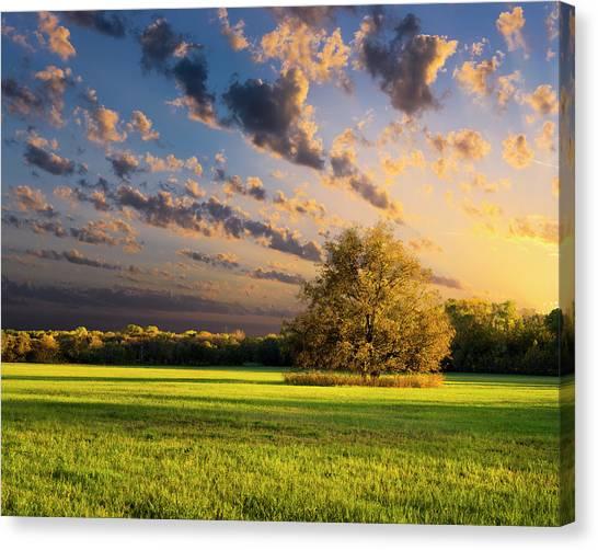 Rural Texas Autumn Sunset Canvas Print by Dean Fikar