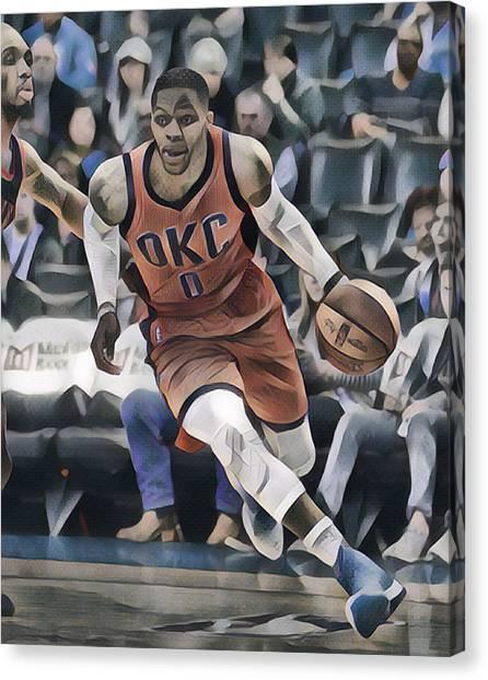 Russell Westbrook Canvas Print - Russell Westbrook Oklahoma City Thunder Abstract Art 3 by Joe Hamilton