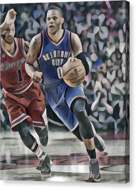 Russell Westbrook Canvas Print - Russell Westbrook Oklahoma City Thunder Abstract Art 4 by Joe Hamilton