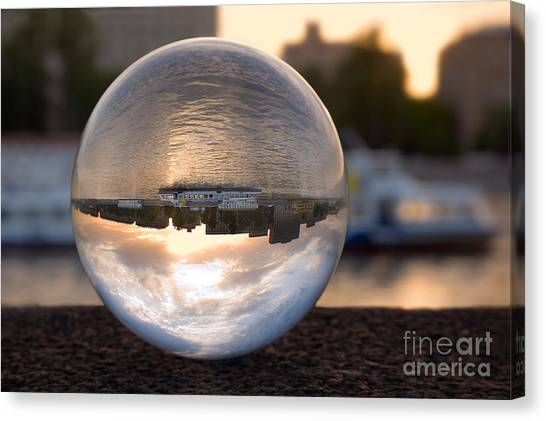 Balls Canvas Print - Russia, Moscow River, Sunset. In A by Eremin Sergey