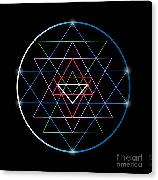 Sacred Geometry And Alchemy Symbol Sri Canvas Print by Maddyz