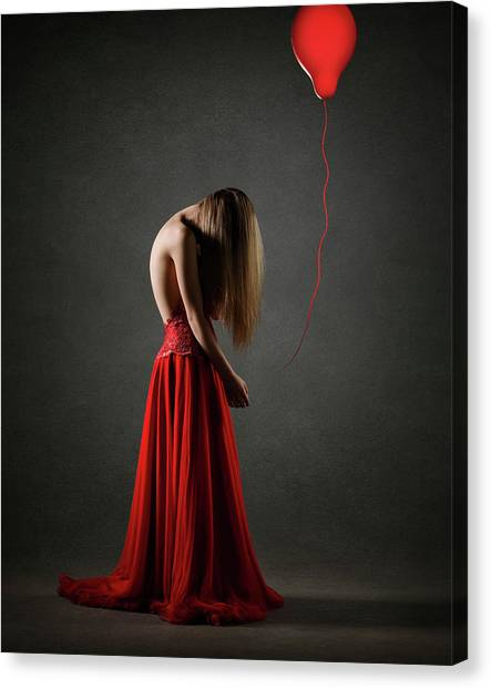 Blondes Canvas Print - Sad Woman In Red by Johan Swanepoel
