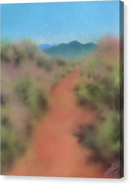 Sagebrush Path To Black Mountain Canvas Print by Robin Street-Morris