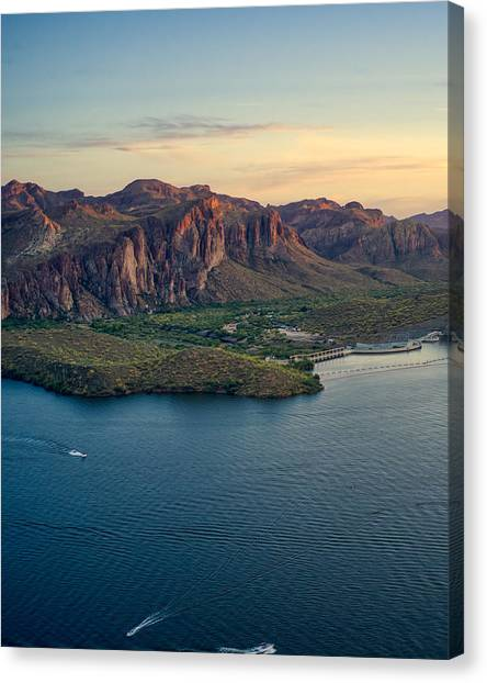 Saguaro Lake Mountain Sunset Canvas Print