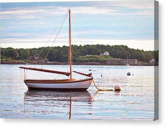 Sailboat At Sunrsie Canvas Print by Eric Gendron