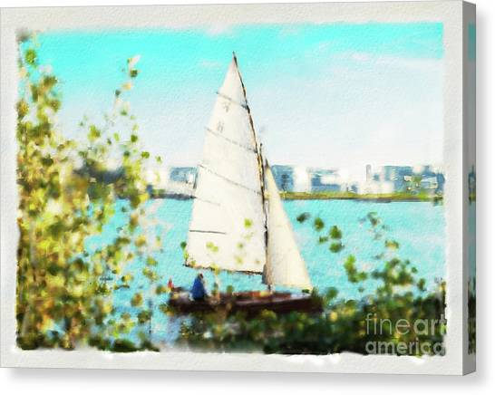 Sailboat On The River Watercolor Canvas Print