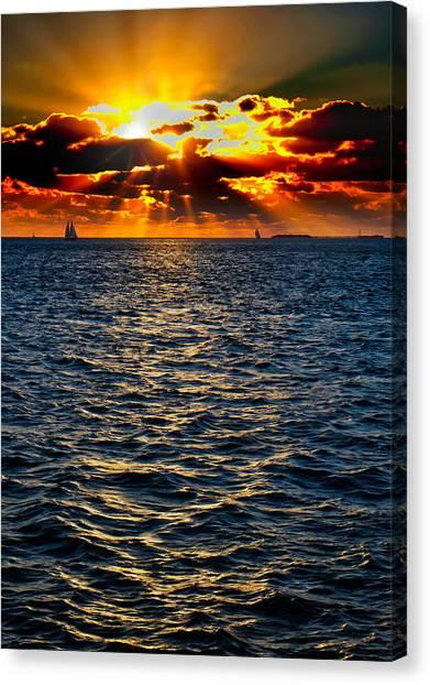 Sailboat Sunburst Canvas Print