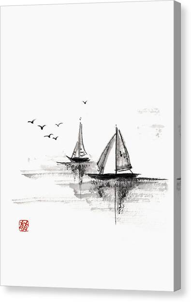 Sailboats On The Water Canvas Print