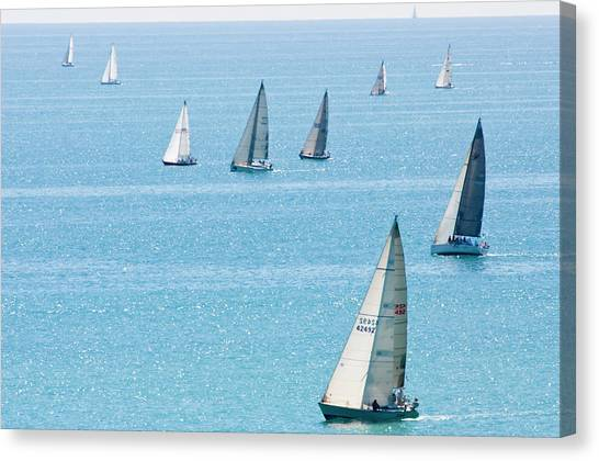 Sailboats Racing On Blue Water Canvas Print