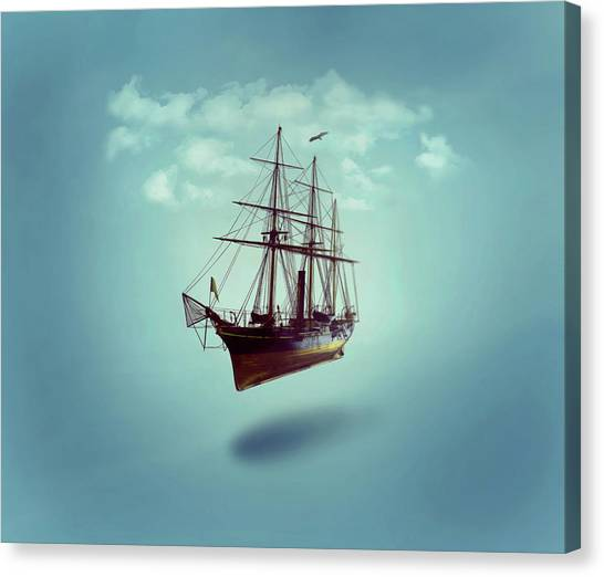 Canvas Print featuring the digital art Sailed Away by ISAW Company