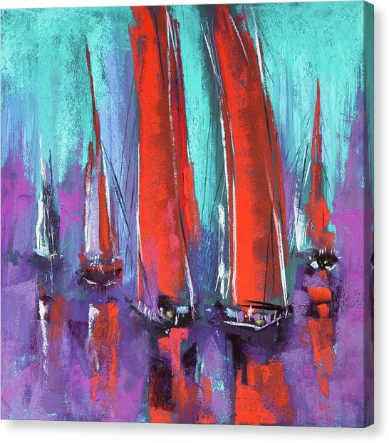 Canvas Print featuring the pastel Sailing by David Patterson