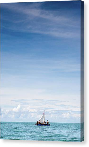 Sailing On A Makeshift Handmade Raft Canvas Print