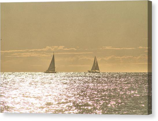 Canvas Print featuring the photograph Sailing On The Horizon by Robert Banach