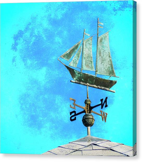 Schooner Canvas Print - Sailing Ship Weathervane by Carol Leigh