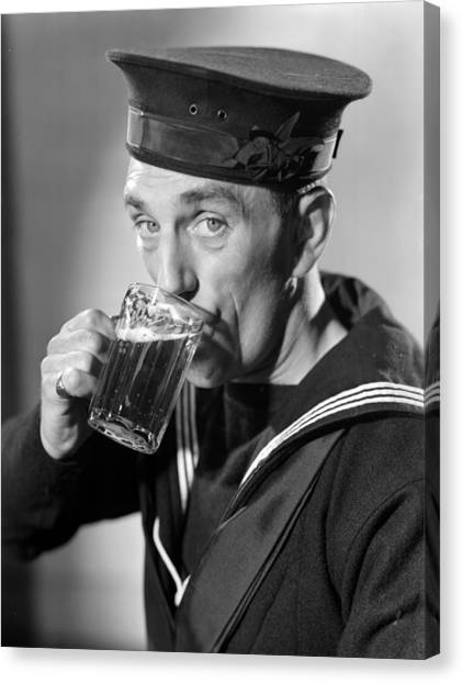 Sailor Drinking Beer Canvas Print