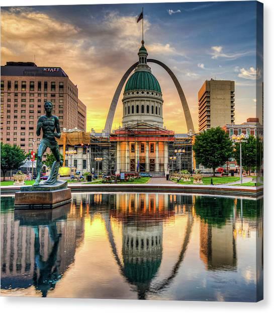 Saint Louis Skyline Morning Cityscape 1x1 Canvas Print