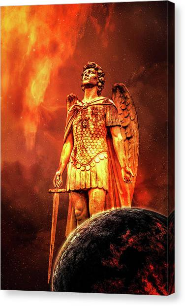 Canvas Print featuring the photograph Saint Michael The Archangel by Michael Arend