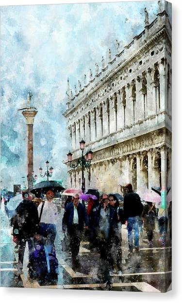 Saint Theodore Sculpture At Saint Mark Square Canvas Print